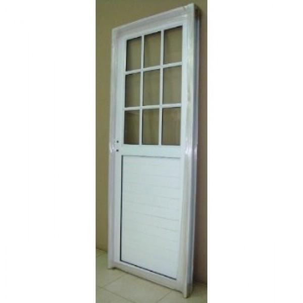 Puerta aluminio 1 2 vidrio repartido 80x200 for Puertas de aluminio con vidrio para exterior