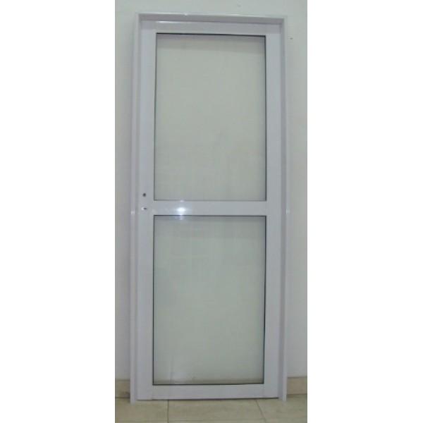 Puerta aluminio vidrio entero con travesa o 80x200 - Puerta de aluminio y vidrio ...