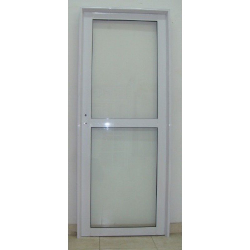 Puerta aluminio vidrio entero con travesa o 80x200 for Puertas de aluminio y vidrio modernas