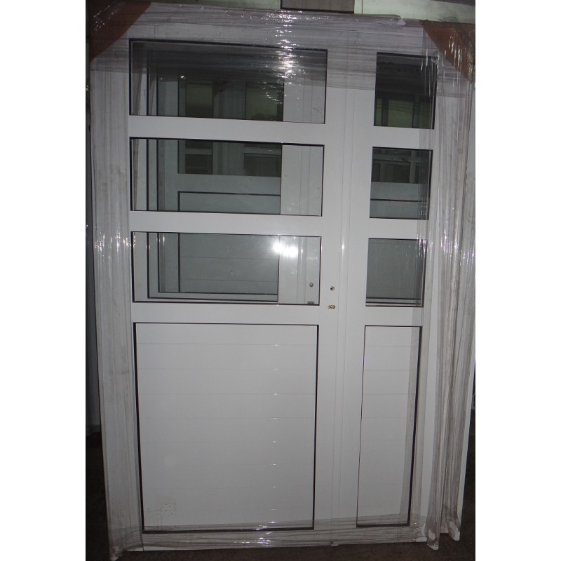Puerta Y Media Aluminio 1 2 Vidrio Repartido Horizontal 120x200