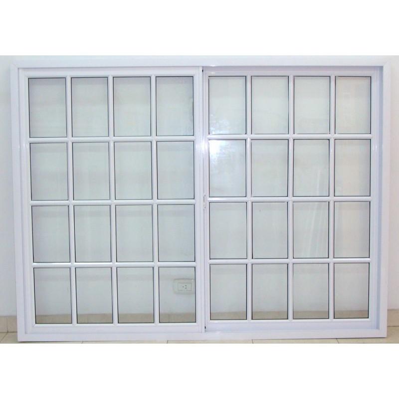 Ventana aluminio blanco vidrio repartido 200x150 con vidrio for Ver ventanas de aluminio blanco