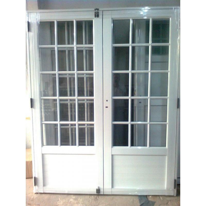 Puerta Doble Aluminio 3 4 Vidrio Repartido 160x200