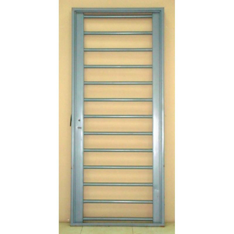 Puerta reja hierro pesada tubos horizontales 80x200 reforzada for Precio de puertas de hierro
