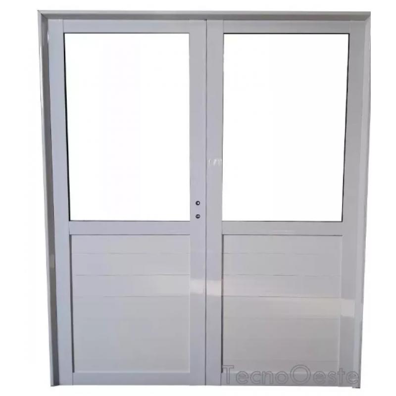 Puerta Doble Aluminio 12 Vidrio Entero 160x200 - Puertas-de-aluminio-fotos