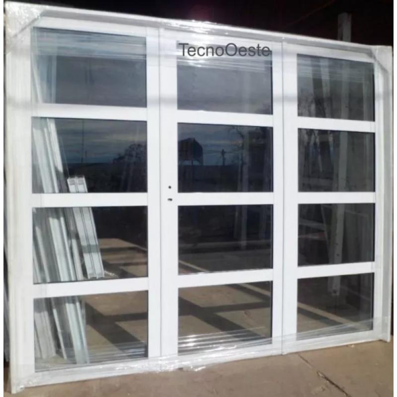 Porton aluminio vidrio repartido horizontal 240x200 - Puerta de aluminio y vidrio ...