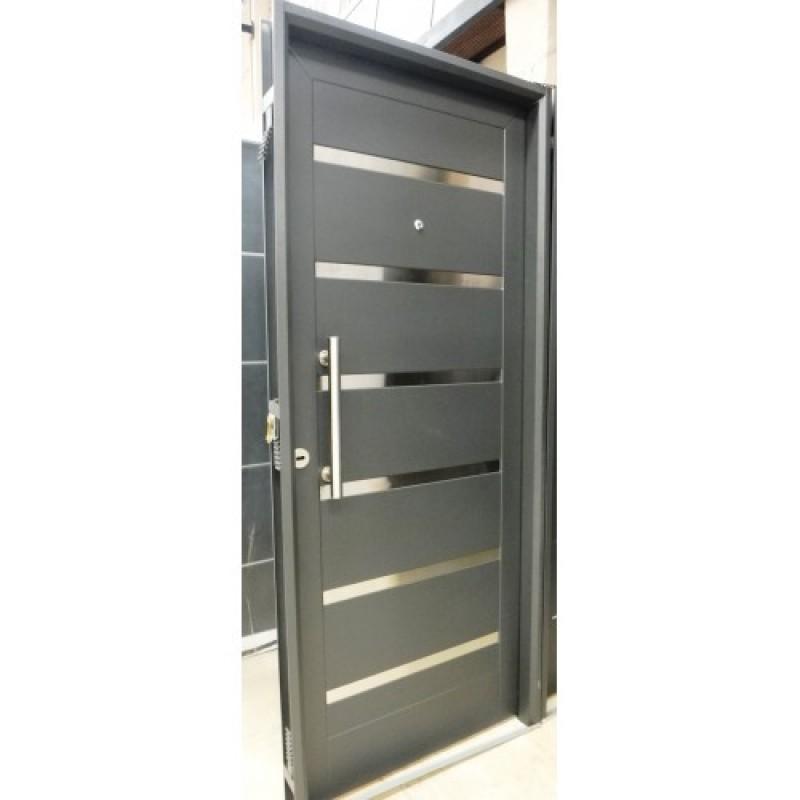 Puerta inyectada pavir pesada negra con apliques acero - Puerta acero galvanizado ...