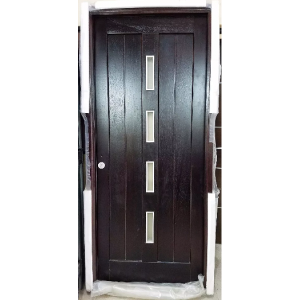 Oferta Puerta Oblak Lustrada Caoba M1618 C/vidrios 80x200