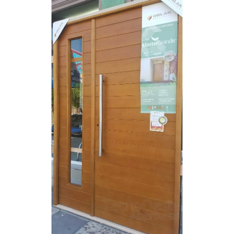 Puerta y media oblak madera premium moderna 1283 lateral for Puertas exterior madera con cristal