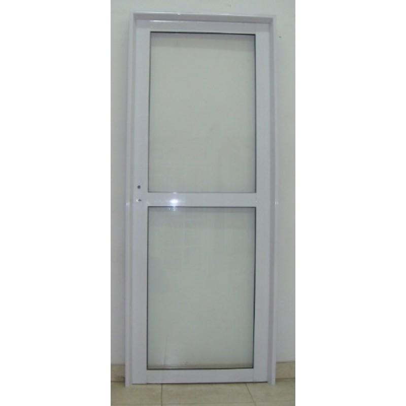 Puerta aluminio vidrio entero con travesa o 80x200 - Puertas de aluminio con cristal ...